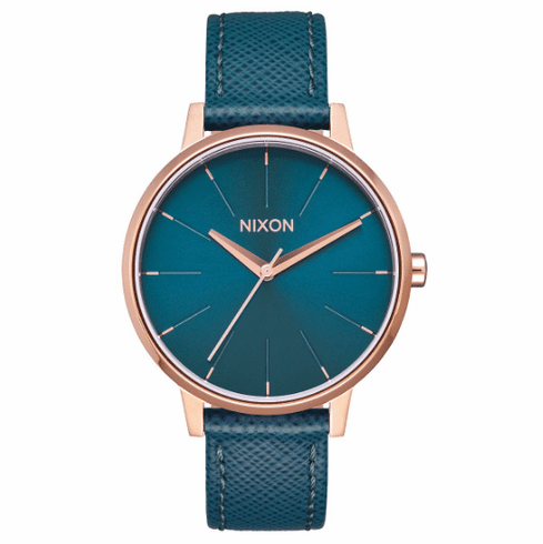Nixon Kensington Leather Watch<br>Rose Gold/Teal