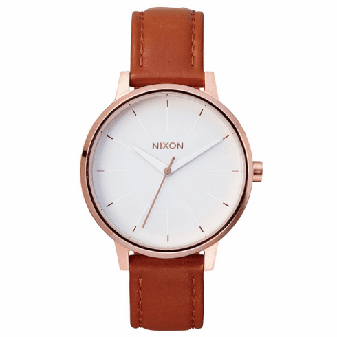 Nixon Kensington Leather Watch<BR>Rose Gold/White