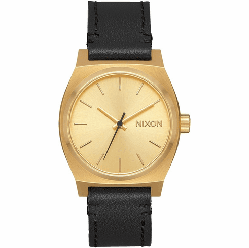 Nixon Medium Time Teller Leather Watch<br>Gold/Black