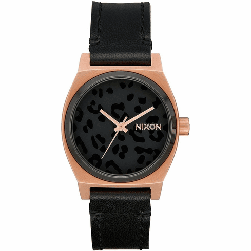 Nixon Medium Time Teller Leather Watch<br>Rose Gold/Black/Cheetah