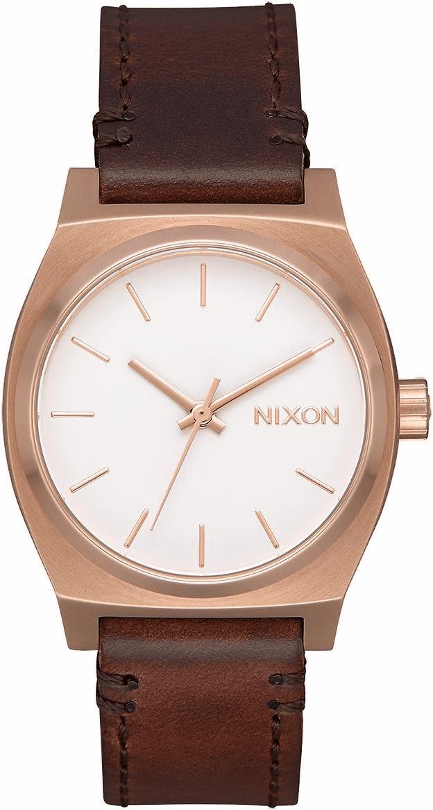 (SALE!!!) Nixon Medium Time Teller Leather Watch<br>Rose Gold/White/Brown