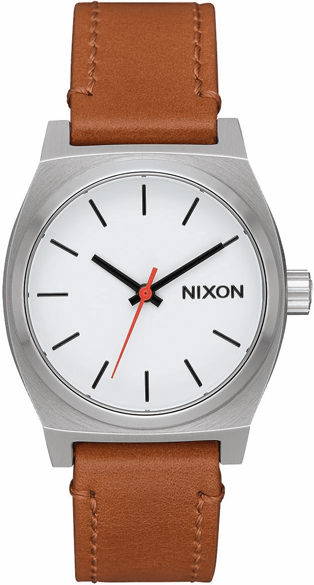 Nixon Medium Time Teller Leather Watch<br>White/Saddle