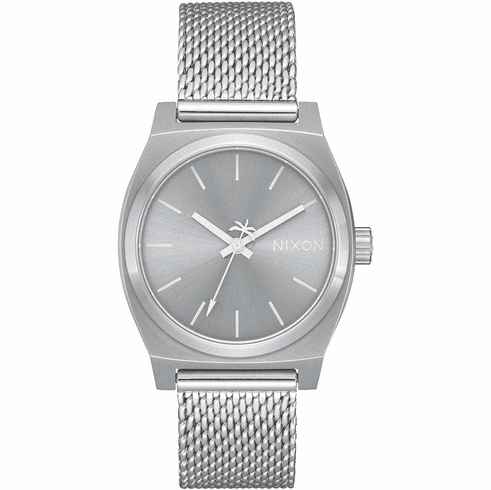 Nixon Medium Time Teller Milanese Watch<br>All Silver