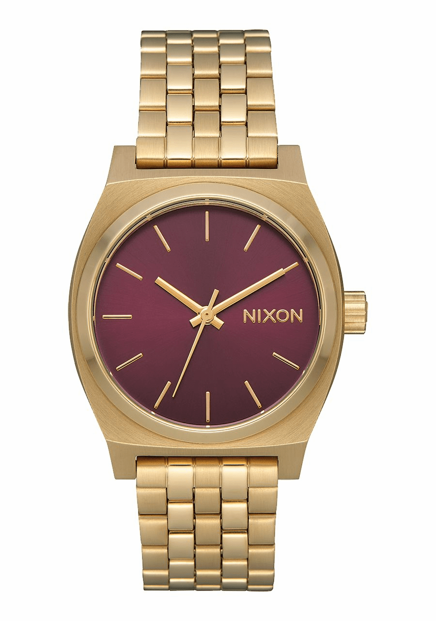 Nixon Medium Time Teller Watch<br>Light Gold/Bordeaux Sunray