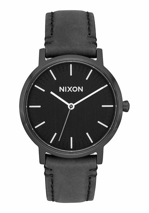 Nixon Porter 35 Leather Watch<br>All Black/Silver