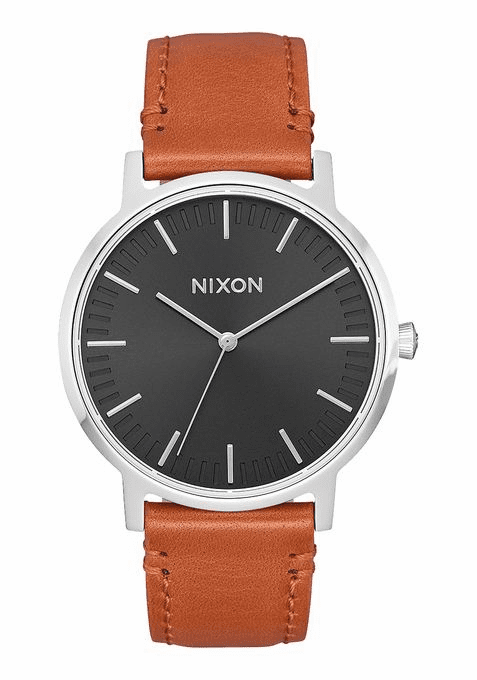 Nixon Porter 35 Leather Watch<br>Black/Saddle