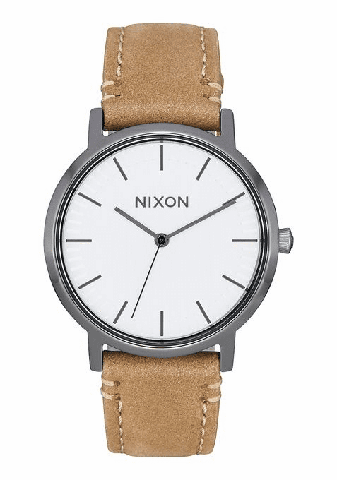 Nixon Porter 35 Leather Watch<br>Gunmetal/Taupe