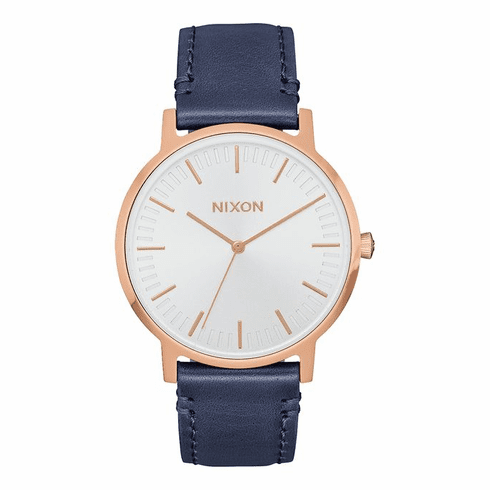 Nixon Porter 35 Leather Watch<br>Rose Gold/Navy
