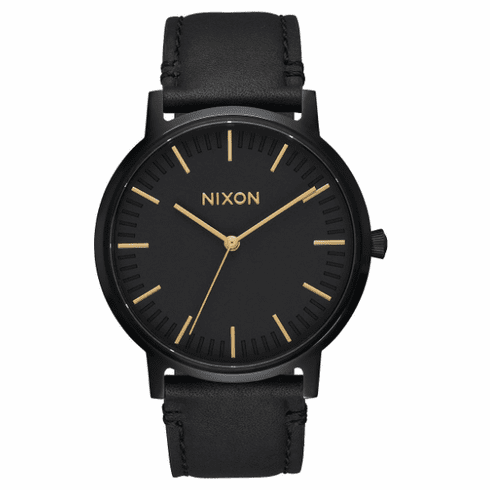 Nixon Porter Leather Watch<br>All Black/Gold