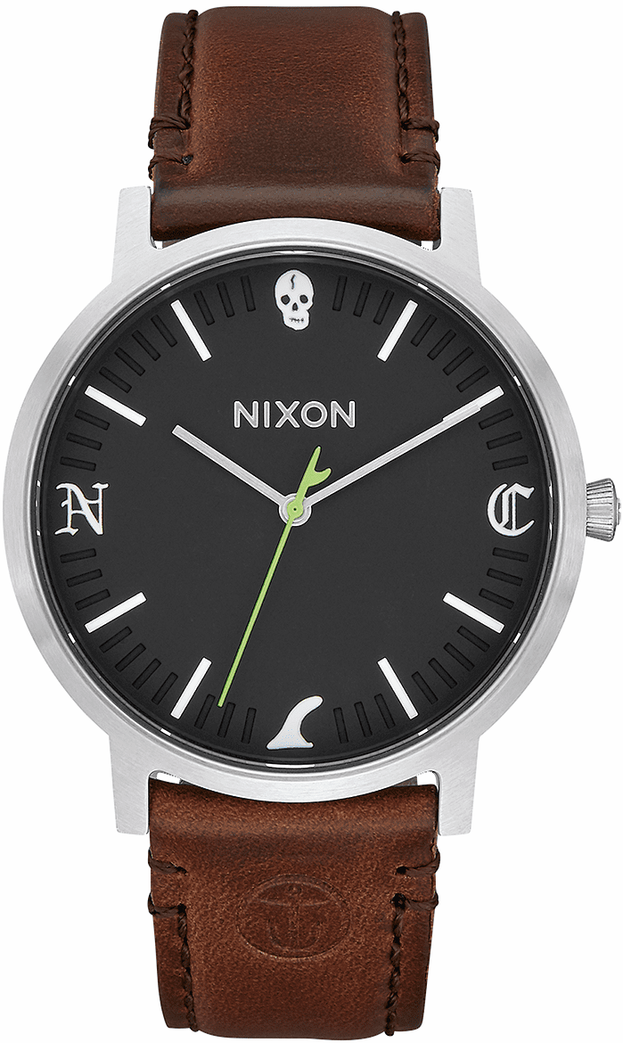 Nixon Porter Leather Watch<br>Black/Brown Fin