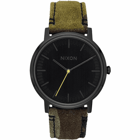 (SALE!!!) Nixon Porter Leather Watch<br>Black/Camo/Volt