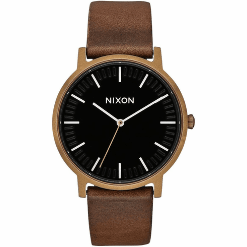 Nixon Porter Leather Watch<br>Brass/Black/Brown