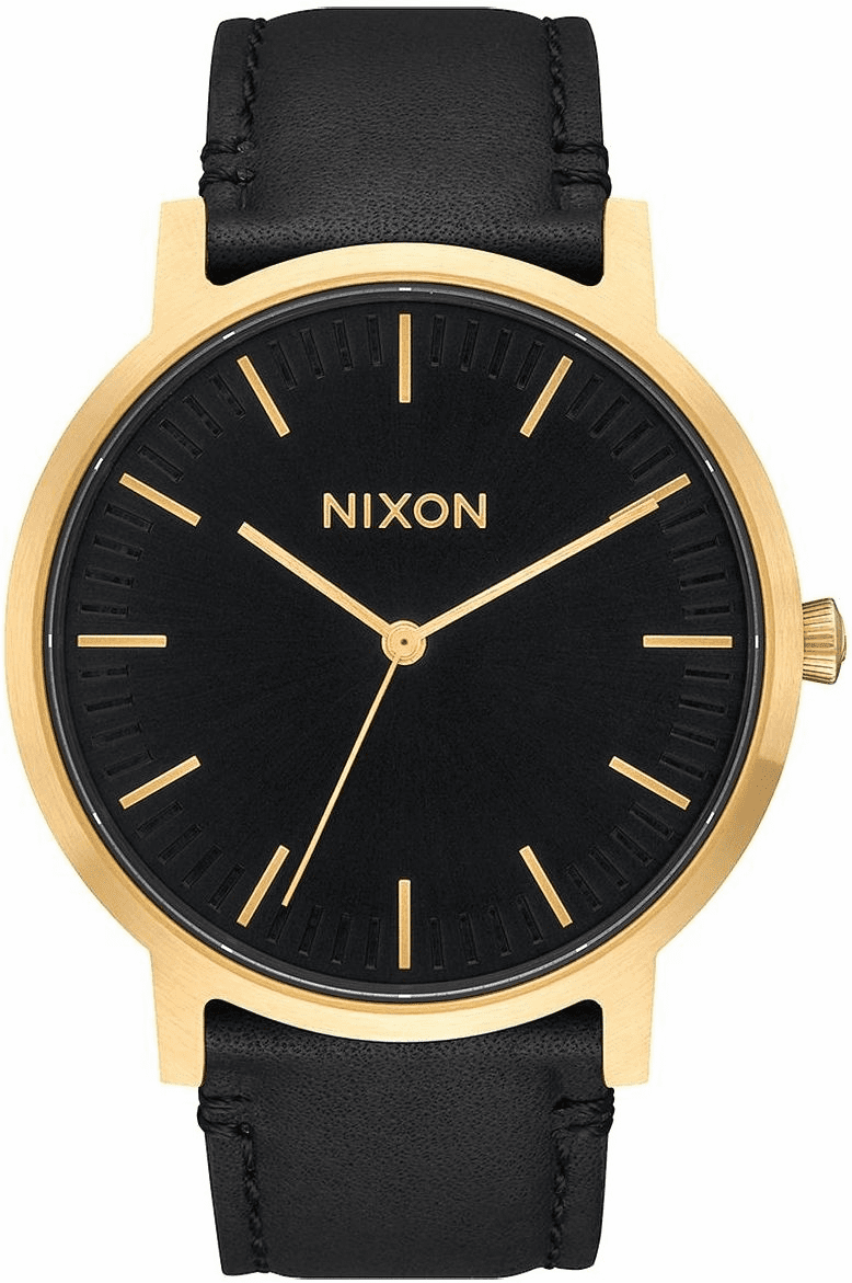 Nixon Porter Leather Watch<br>Gold/Black