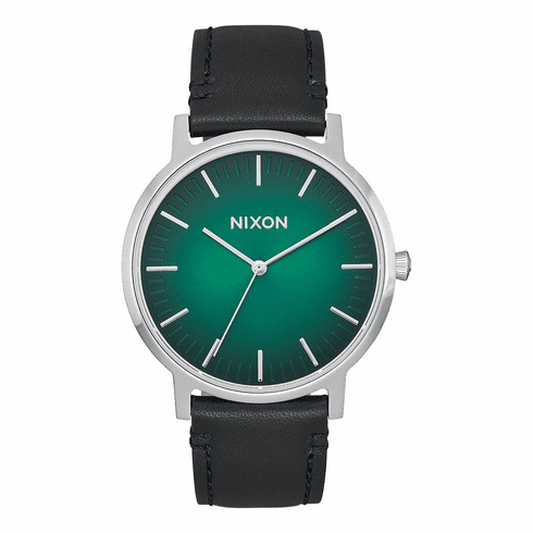 Nixon Porter Leather Watch<br>Green Ombre/Black