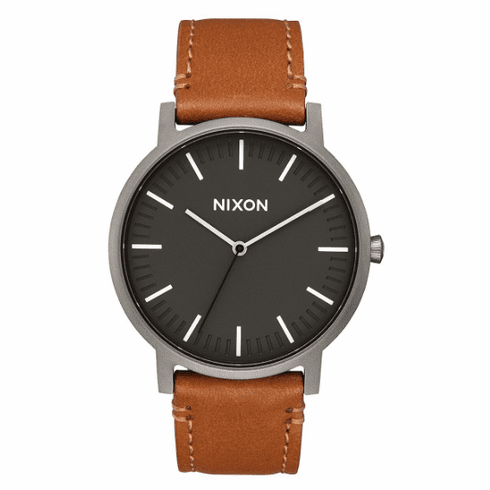 Nixon Porter Leather Watch<br>Gunmetal/Charcoal/Taupe