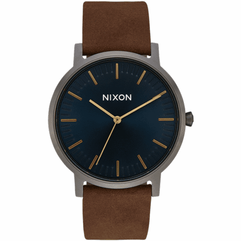 Nixon Porter Leather Watch<br>Gunmetal/Indigo/Brown