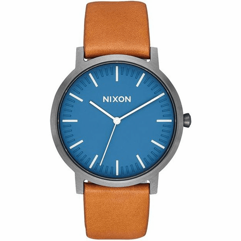 Nixon Porter Leather Watch<br>Navy/Gunmetal