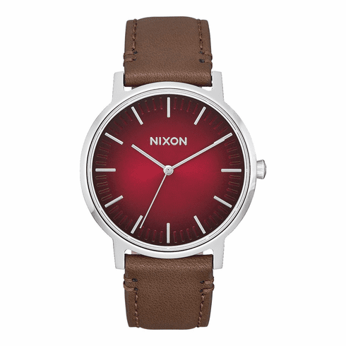 (SALE!!!) Nixon Porter Leather Watch<br>Oxblood Ombre/Taupe