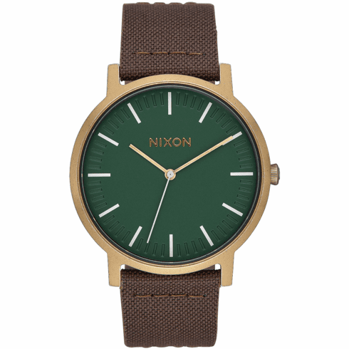 Nixon Porter Leather Watch<br>Palm Green/Brass/Brown