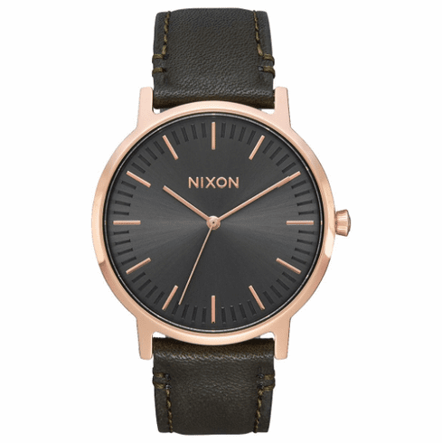 (SALE!!!) Nixon Porter Leather Watch<br>Rose Gold/Gunmetal/Surplus