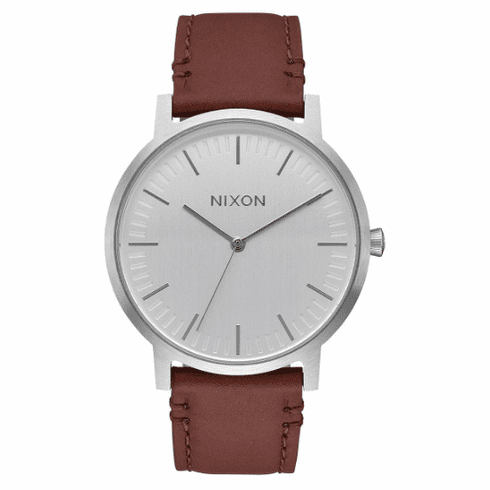 Nixon Porter Leather Watch<br>Silver/Brown