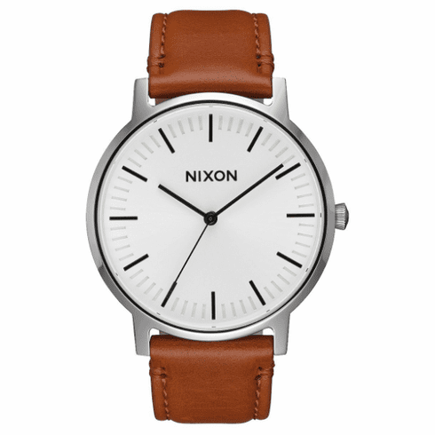 Nixon Porter Leather Watch<br>White Sunray/Saddle