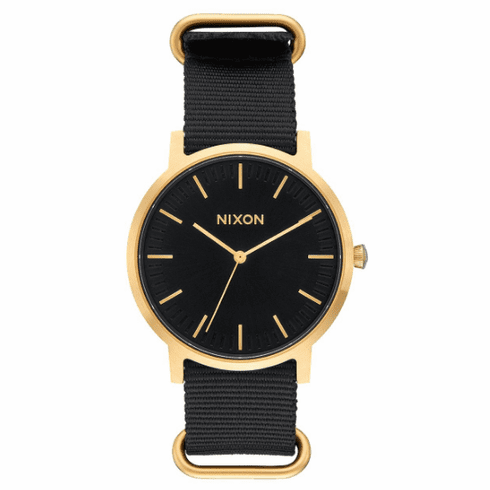 (SALE!!!) Nixon Porter Nylon Watch<br>Gold/Black