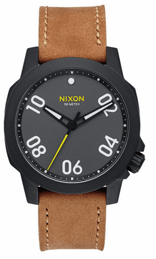 (SALE!!!) Nixon Ranger 40 Leather Watch<br>Black/Gunmetal/Natural