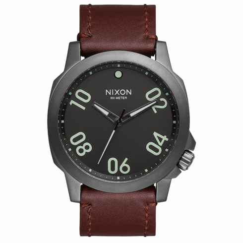 Nixon Ranger 45 Leather Watch<br>Gunmetal/Dark Brown