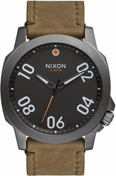 Nixon Ranger 45 Leather Watch<br>Gunmetal/Surplus