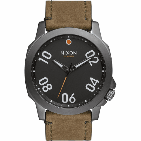 (SALE!!!) Nixon Ranger 45 Leather Watch<br>Gunmetal/Surplus