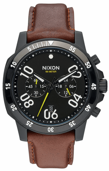 Nixon Ranger Chrono Leather Watch<br>All Black/Brown