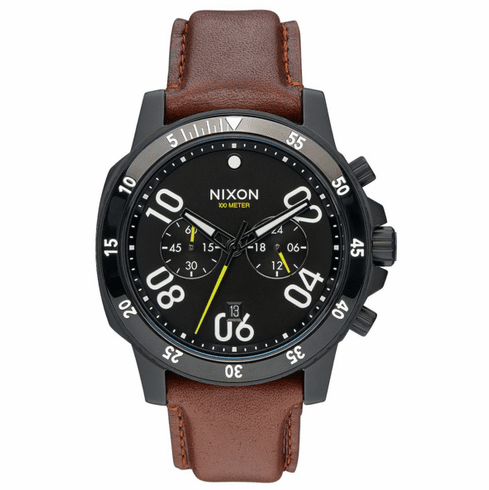 (SALE!!!) Nixon Ranger Chrono Leather Watch<br>All Black/Brown