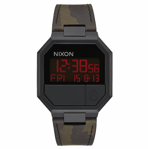 Nixon Re-Run Leather Watch<br>All Black/Camo
