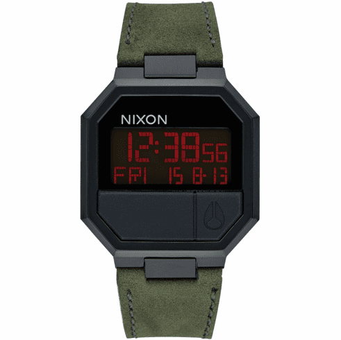 Nixon Re-Run Leather Watch<br>All Black/Green