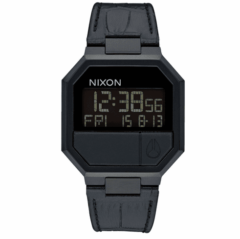 Nixon Re-Run Leather Watch<br>Black Croc