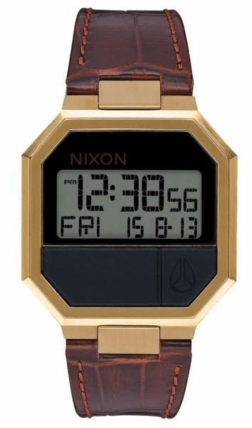 Nixon Re-Run Leather Watch<br>Brown Croc