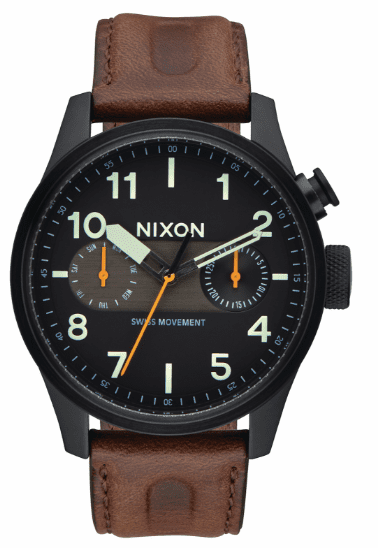 Nixon Safari Deluxe Leather Watch<br>Men's
