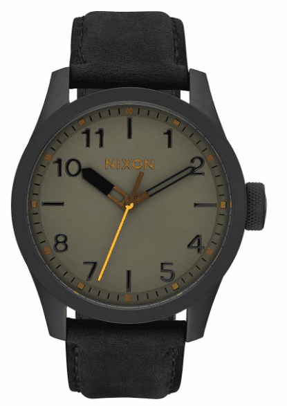 Nixon Safari Leather Watch<br>Men's