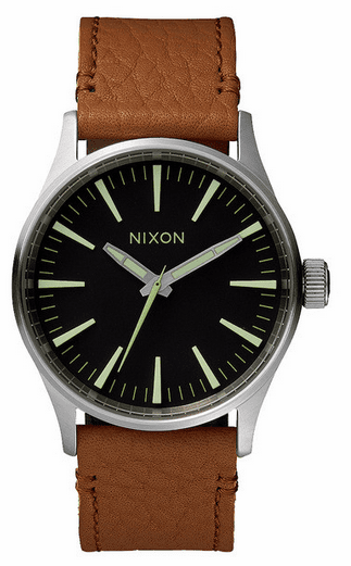 Nixon Sentry 38 Leather Watch<br>Black/Saddle