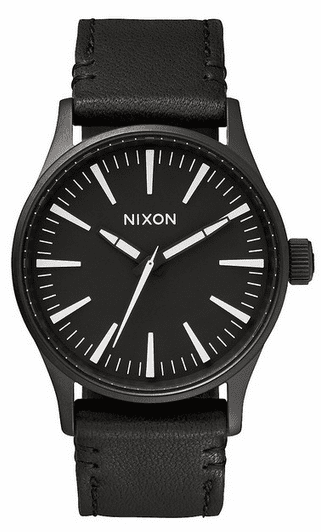 Nixon Sentry 38 Leather Watch<br>Black/White