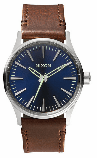 Nixon Sentry 38 Leather Watch<br>Blue Brown