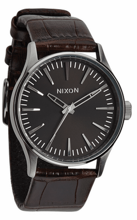 Nixon Sentry 38 Leather Watch<br>Brown Gator