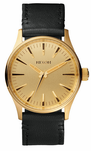 Nixon Sentry 38 Leather Watch<br>Gold/Black