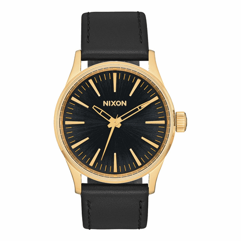 (SALE!!!) Nixon Sentry 38 Leather Watch<br>Gold/Black Sunray