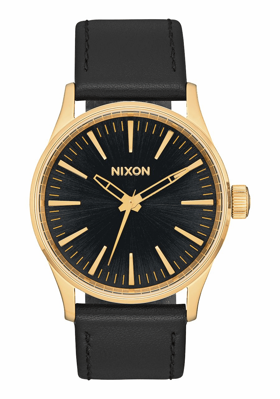 Nixon Sentry 38 Leather Watch<br>Gold/Black Sunray