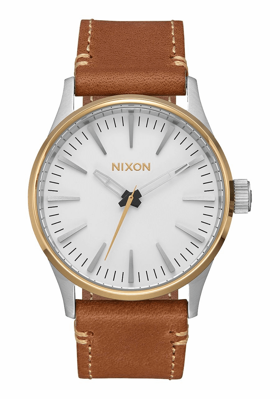 Nixon Sentry 38 Leather Watch<br>Gold/Cream/Tan