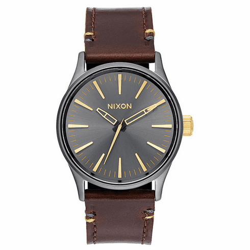 Nixon Sentry 38 Leather Watch<br>Gunmetal/Gold