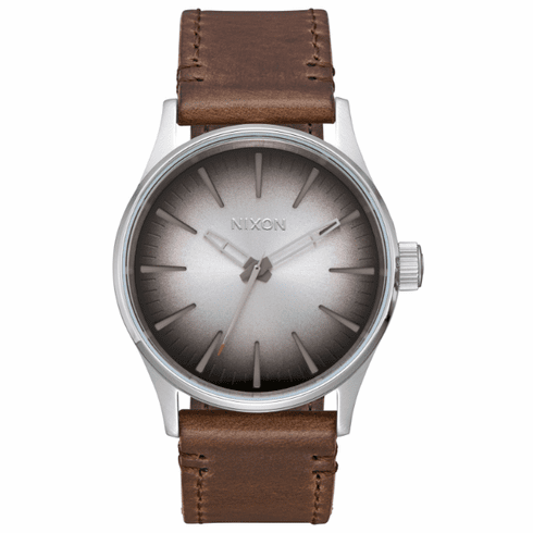 (Sale!!!) Nixon Sentry 38 Leather Watch<br>Ombre/Taupe