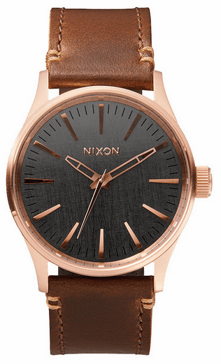 Nixon Sentry 38 Leather Watch<br>Rose Gold/Gunmetal/Brown